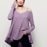 women's purple cold-shoulder sweater with black pants
