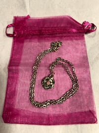 Silver Pink Crystal Rose Necklace