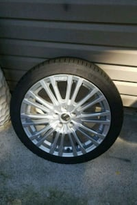 chrome multi-spoke auto wheel with tire Langley Township, V4W 3X2