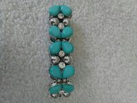 New turquoise and diamond and silver bracelet