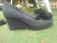 pair of flower accents black wedges shoes Grass Valley, 95945
