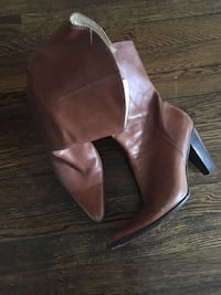 Pair of brown leather pointed-toe cone heel mid-calf boots New York, 10452
