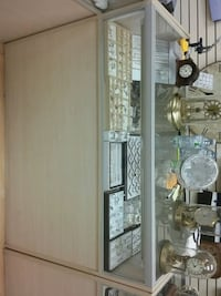brown wooden framed glass display cabinet Toronto, M6H 1P3