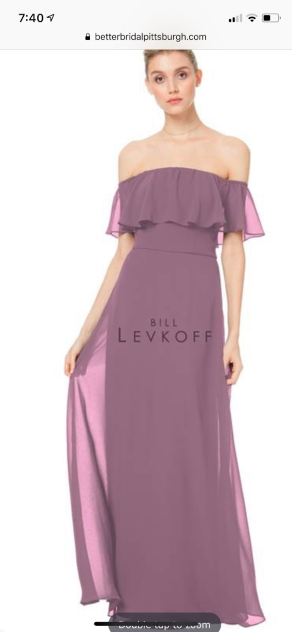 Bill Levkoff Wisteria off-should gown. Size 28, no extra length 0
