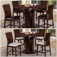 5 pc Dara brown finish wood counter height dining table set C.M   $775 JM  Income Tax Special!!!  We Offer No Credit Needed Finance!  Ofrecemos Financiamiento Sin Crédito Necesario! ASK ME HOW  $39 Down payment  $39 Pago Inicial   Take everything the same Houston, 77092
