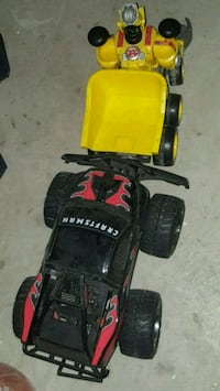 red and black RC car 542 km
