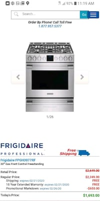 Frigidaire Professional Gas Stove