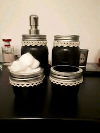 4pc bathroom mason jar set in your choice of color