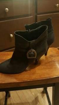 pair of black suede chunky heeled boots Anaheim, 92807