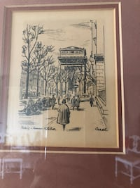 Pair frames etching signed France Knoxville