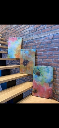 Floral abstract painting (X3) Montréal, H2L 3R7