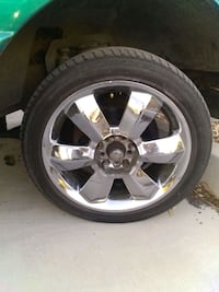 chrome 5-spoke vehicle wheel and tire Las Vegas, 89183
