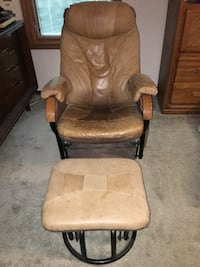 Glider Rocking Leather Chair with Ottoman