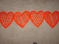 """Red Felt Hearts Cutout Table Runner, Size 14""""x48"""""""