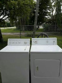 white clothes washer and dryer set