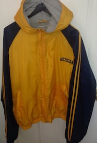 Michigan Wolverines Hooded Nylon Lined Jacket Size Large By Steve & Barry's