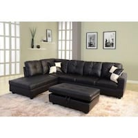 NEW BLACK LEATHERETTE SECTIONAL SOFA WITH OTTOMAN  Clifton, 07013