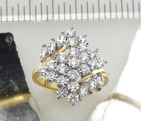 18K Gold-Plated Sterling Silver CZ Waterfall Cluster Bypass Ring Aldie, 20105