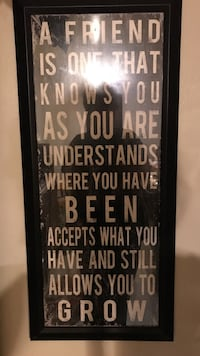 Black wooden-framed a friend is one that knows you as you are text quote Appleton, 54915