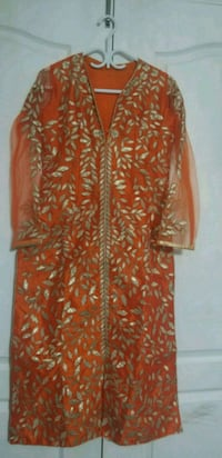 orange and white floral long sleeve dress Brampton, L6P 2M2