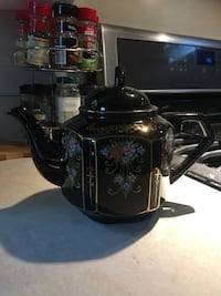 Black Hand Painted Tea Pot