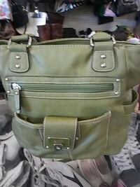 green leather shoulder bag