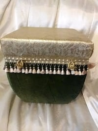 two green and white floral ottomans Largo, 33774