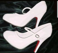 Pinup Style Patent White Red bottom Heels NEW 9M Oakbrook Terrace, 60181