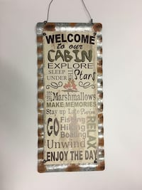"""Metal Welcome To Our Cabin  16"""" x 7"""" Barrie, L4N 5S6"""