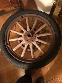 Wooden car wheel from 1920s