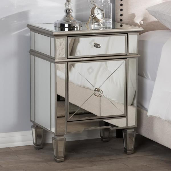 Claudia Hollywood Glamour Style Mirrored Nightstand   NEW