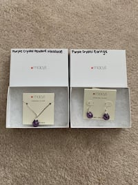 Sterling Silver Purple stone Necklace and Earings Set