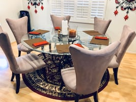 "Large Round 72"" Glass Dining Table and 6 Chairs"