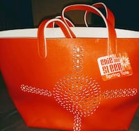 red and white leather tote bag Silver Springs, 34488