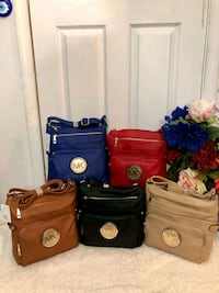 two black and brown leather handbags