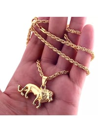 Gold plated lion necklace.  Burnaby, V5E 3G6