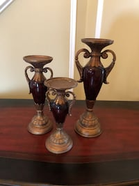 two black metal candle holders Ashburn