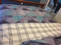 White and blue plaid textile bed cover Queen sized  Ashburn, 20148