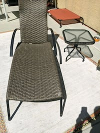 Commercial Grade, Wicker Chaise Lounge and Side Table