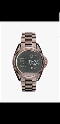 round silver-colored digital watch with link bracelet