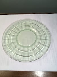 One block optic pattern vaseline green sherbet plate Quinton, 23141