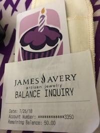 50 dollar gift card. James Avery jewelry  Laurel, 20707