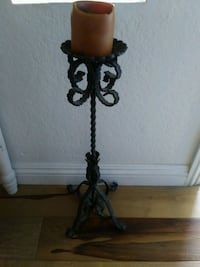 Tall wrought iron Candlestick w/ candle