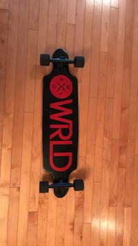 Black and red WRLD long board