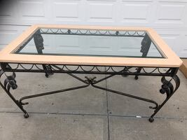 NEW GLASS & METAL DINING TABLE