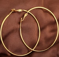 Round Large Yellow Gold Plated Hoop Earrings Toronto