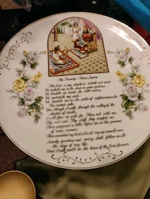 Lot of 6 Angels, mirror tray and scripture plate