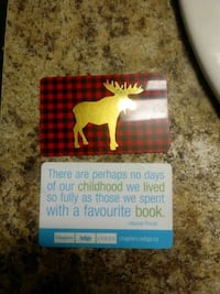Two indigo/Chapters/Coles Gift cards with 10 dollars each FOR SALE Toronto, M9N 1A5