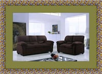 Chocolate microfiber sofa and loveseat Fairfax