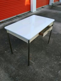 Metal table with wood base and metal legs 656 mi